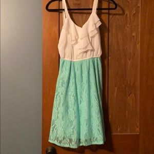 White and teal dress